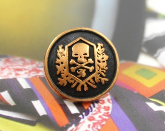 Metal Buttons - Skull Emblem Metal Buttons , Black Painted Red Copper Color , Shank , 0.59 inch , 10 pcs