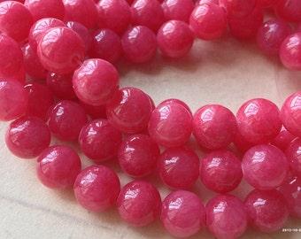 8 mm Pastel Round Magenta Colour Flower Jade Gem Stones (.s)