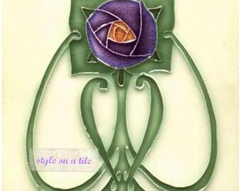 Art Nouveau Rennie Mackintosh Purple Rose Flower design square placemat table mat server