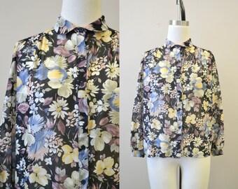 1970s Elles Belles Floral Sheer Blouse