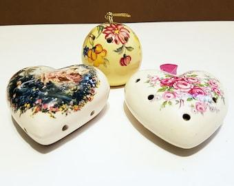 Set of 3 Sealed Vintage Porcelain Pomanders