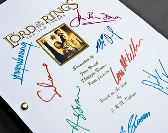 The Lord of the Rings: The Two Towers Film Movie Script with Signatures / Autographs Reprint LOTR Unique Gift Screenplay Present Geek