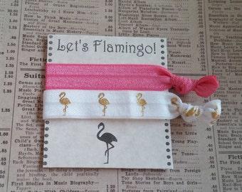 Gold Flamingo Hair Ties, flamingo favors, Bachelorette favors, bridal shower, baby shower, party favors, summer hair, beach hair ties