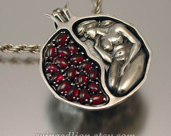 POMEGRANATE silver garnet pendant - Ready to ship