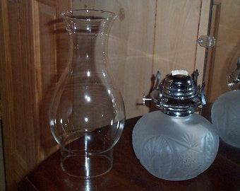 """Frosted Glass Oil Lamp Lantern by Lamp Light Farms with Burner, Wick and Clear Chimney 13"""" Tall"""