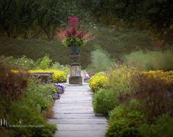 Digital Background | Digital Backdrop of botanical flower garden walkway