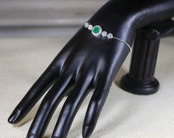 Emerald bracelet, white topaz bracelet, multi stone bracelet, pull-tie bracelet, 925 Sterling silver bracelet