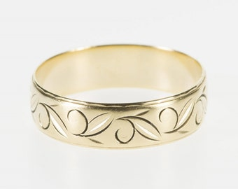 14K Ornate Scroll Leaf Patterned Wedding Band Ring Size 10 Yellow Gold