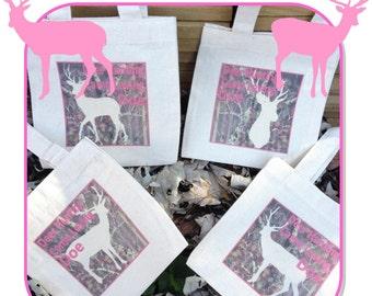 Deer Hunter Camo Doe Treat Favor Bags Mini Cotton Totes Children Kids Guests Deer Hunter Pink Camo Favor Gift Bags - Set of 4