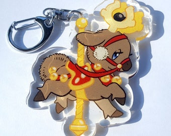 CAROUSEL STANTLER Acrylic Keychain Charm. Cute Moose Pokemon Key Ring Chain.