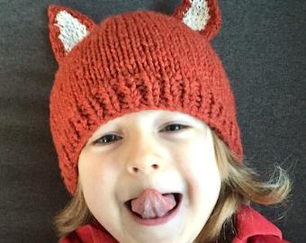 Child/adult fun fox hat - acrylic yarn