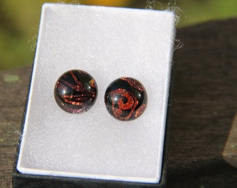 Red dichroic stud earrings, fused glass earrings,  dichroic stud earrings, red dichroic, pierced earrings, glass jewelry