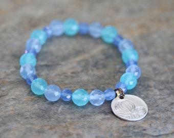Sea Blue Chalcedony Agate and Matte Rhodium Coin Charm Beaded Bracelet, Gemstone, Beach, Stretch Bracelet.