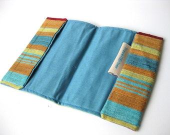 Silk Passport cover wallet travel gift brown blue yellow stripes silk