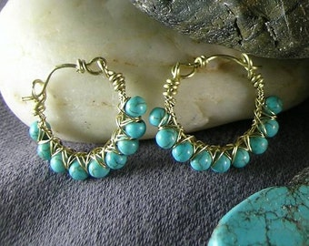 Goddess Turquoise Hoops - Wire Wrapped Earrings - Aztec - Egyptian