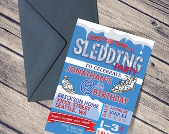 Birthday Invitation / Boy's Birthday / Digital Download / Young Man / SLEDDING Party / SNOW / Birthday Party / WINTER Party