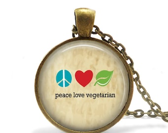 Vegetarian Necklace, Animal Rights Vegetarian Pendant, Vegan Jewelry For Vegetarian, Peace Love Vegetarian Jewelry, Animal Activist Necklace