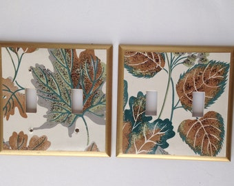 Light Switch Plates with Leaves for 2 Toggles