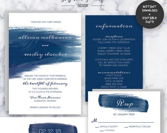 Navy Watercolor Wedding Invitation Suite   INSTANT DOWNLOAD   Editable PDF  Do It Yourself   Printable