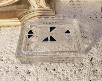 Thick glass trinket box