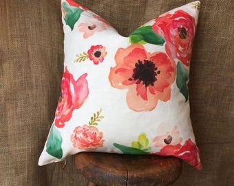 Larger Print Spring Pillows, Watercolor Floral Pillow Cover, Floral Pillows, Large Floral Print Pillow Cover, Spring Decor, Home Decor