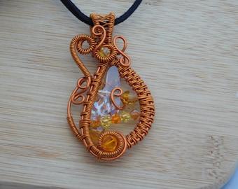 RESERVED FOR ALBERT Orange Topaz Golden Shadow Swarovksi Crystal Wire Pendant Amber  Wrapped Jewelry Handmade Fantasy Scifi Amulet Medallion