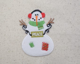 Snowman with Earmuffs - Peace Sign - Iron on Applique -Embroidered Patch - 697164-A
