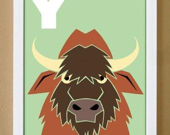 alphabet letter Y, yak, custom colors, alphabet art, nursery decor, kids initials, kids room art, 4X6, 5X7, 8X10