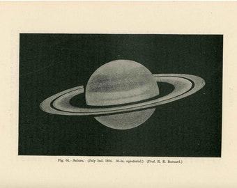 c. 1905 - SATURN print - original antique astronomy print - the planet Saturn