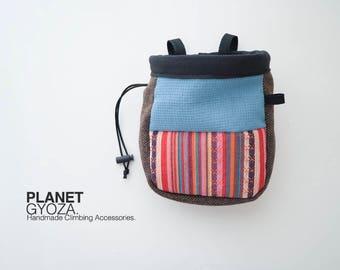 Chalk Bag - patchwork striped woven fabric and green / original chalk bag idea