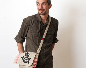 Mens messenger bag  - Repurposed Danish, French and German linen mail bags - Eco friendly