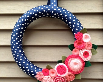 Spring Wreath - Easter Wreath - Summer Wreath - Baby Shower Wreath - Polka Dot Wreath -Felt Flower Wreath -Ribbon Wreath -Mothers Day Wreath