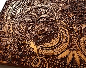 Engraved Cherry Wood Block Wall Art