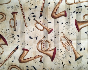 Musical Instruments Novelty Cotton Fabric