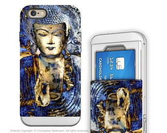 Buddha iPhone 6 6s Wallet Case - Inner Guidance Buddhist Art for iPhone 6 - Blue Buddha Credit Card Holder iPhone 6s Case with Rubber Sides