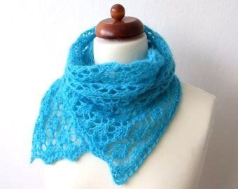 chunky lace scarf, handknit turquoise blue scarf