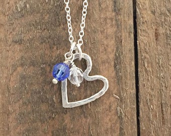 Mother's Heart Necklace - Birthstone Necklace - Sterling Silver Heart Necklace with Birthstones - Mother's Day Gift