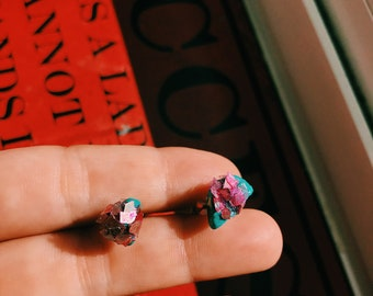 Turquoise & Pink Geode Studs