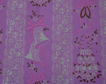 Vintage Gift Wrap Wedding 1970s Wrapping Paper--One Sheet--Love in Lavender