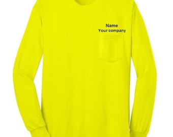 SAFETY WORKER'S long sleeve pocket t-shirt. Safety Orange. Safety Green. Construction worker. Highway worker.