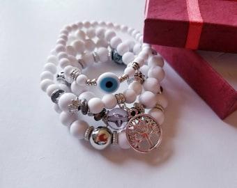 White Layered Bracelet, Layered Bracelet, 4 layer bracelet, Tree of life bracelet, Evil eye bracelet, Yoga Bracelet, Bohemian bracelet.
