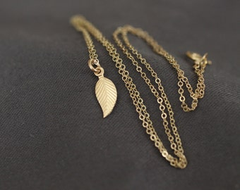 gold necklace, dainty gold necklace, delicate gold necklace, tiny leaf necklace, small gold leaf, layering necklace, bridesmaid wedding, N17