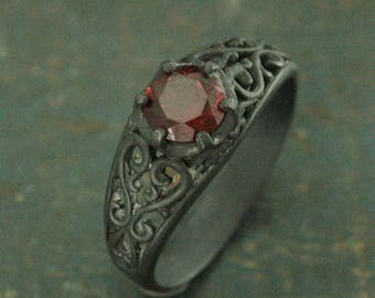 Black Solitaire Ring~Garnet Ring~Black Silver Ring~Black Filigree Ring~Oxidized Silver Ring~Gothic Engagement Ring~Maleficent's Dark Heart