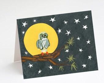 Full Moon Owl Greeting Card