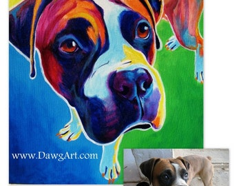 Custom Pet Portrait, 16x20, DawgArt, Dog Art, Pet Portrait, Custom Dog Painting, Custom Cat Painting, Colorful Art, Pet Portrait Artist