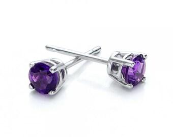 Amethyst stud earrings 1/2 carat-Purple earrings-Handmade Amethyst stud earrings-14 k white gold earnings-Natural Amethyst-Gift for here