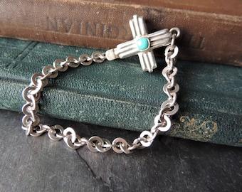 Artisan Jewelry, Silver Cross Bracelet, Silver Bracelet, Turquoise Bracelet, Turquoise Heishi Bear Charm, Southwestern Style, Chain Bracelet