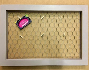 Grey - chicken wire - handmade Photo memory picture frame