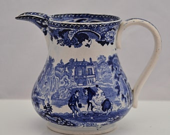 PEARLWARE C1790 Blue & White Transfer Printed JUG YORKSHIRE