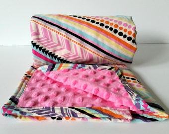 Tribal Baby Blanket- Pink, Aqua, Purple- Minky Blanket- Homemade Baby Blanket- Girl Baby Blanket- Tribal Bedding-Modern Striped Baby Blanket